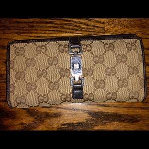 Gucci push pin closure checkbook size wallet